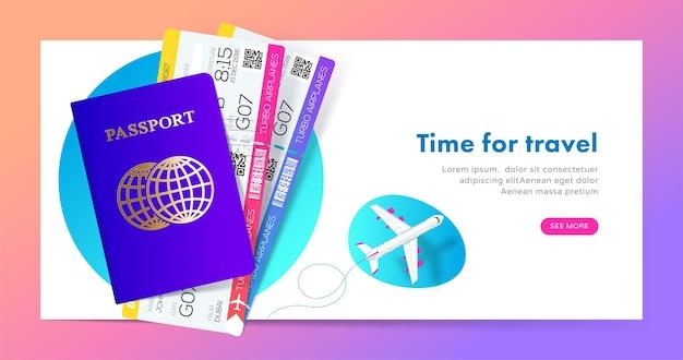 Conception de bannière de voyage avec passeport avec billets dans un style dégradé moderne pour site web de voyage ou de tourisme.