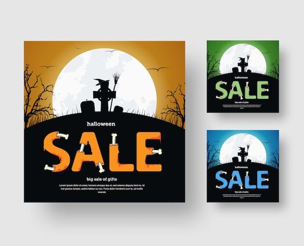 Conception de bannière web carrée pour les réseaux sociaux pour une vente d'halloween avec un cimetière et un texte des os