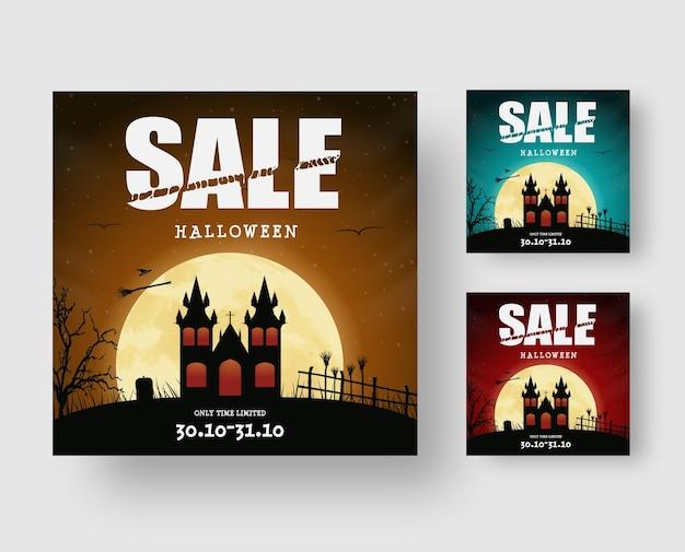 Conception de bannière web carrée pour la vente d'halloween avec un château sombre sur la colline et un texte disséqué