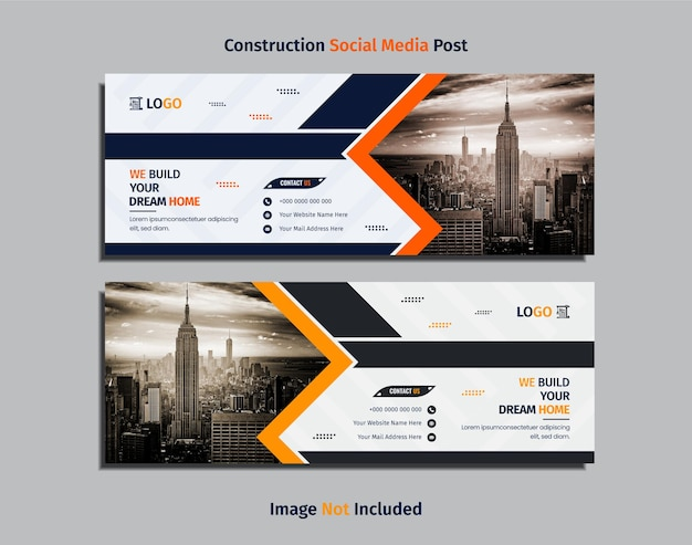 Conception de bannière web de construction moderne avec des formes géométriques créatives de couleur sombre, jaune et orange.