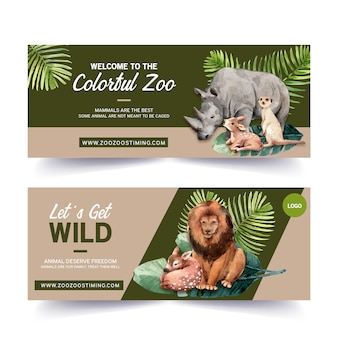 Conception de bannière de zoo avec rhinocéros, cerfs, suricates, illustration aquarelle de lion.