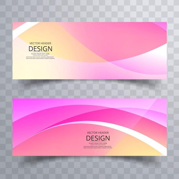 Conception de bannières abstraites colorées ondulées