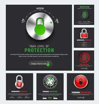 Conception de bannières carrées noires pour protéger les informations. modèles web avec cadenas, serrure à combinaison mécanique, bouton rouge avec empreinte digitale et contrôleur de niveau pour la protection du cloud
