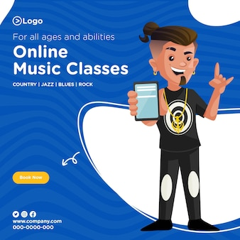 Conception de bannières de cours de musique en ligne pour tous les âges