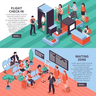 Conception de bannières isométriques départ aéroport