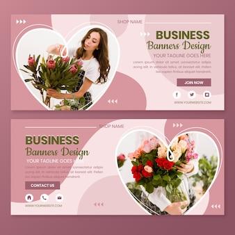 Conception de bannières de magasin de fleurs plates
