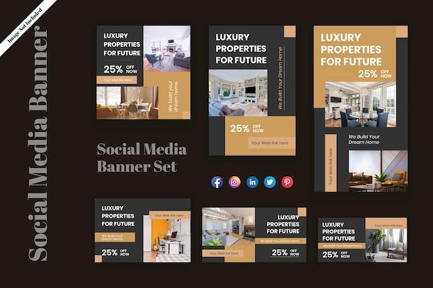 Conception de bannières marketing sur les réseaux sociaux avec différentes tailles conception de bannières et d'affiches immobilières
