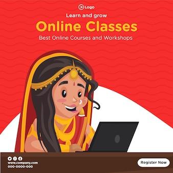 Conception de bannières des meilleurs cours et ateliers en ligne