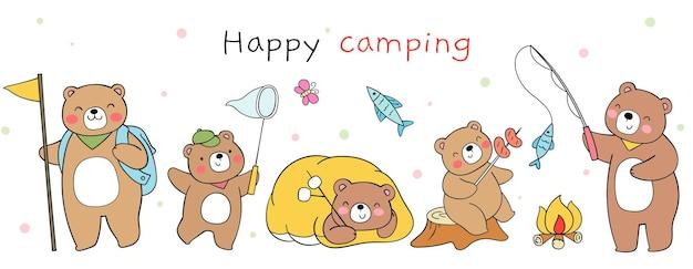 Conception de bannières ours heureux camping camp d'été