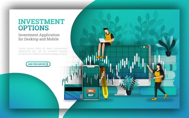 Conception de bannières pour les options d'investissement et les services financiers