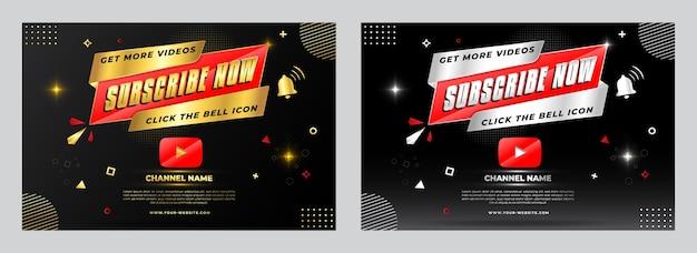 Conception de bannières de promotion golden and silver youtube abonnez-vous maintenant. augmentez la publication des abonnés youtube.