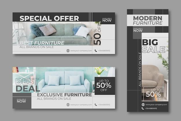 Conception de bannières de vente offre spéciale de meubles
