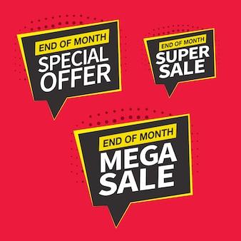 Conception de bannières de vente, offres spéciales et prix