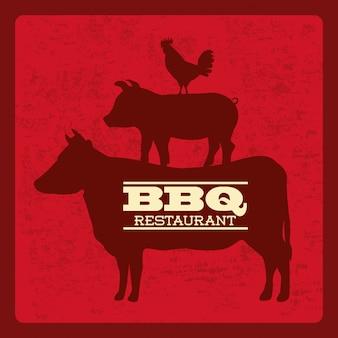 Conception de barbecue au cours de l'illustration vectorielle fond rouge