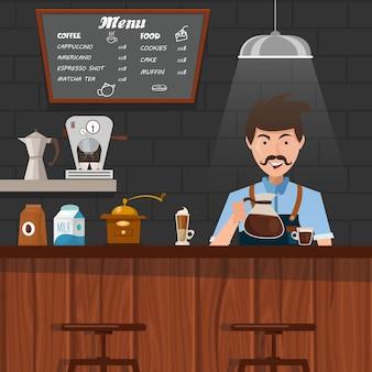 Conception de barista au travail