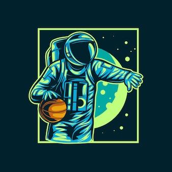 Conception de basket-ball astronaute