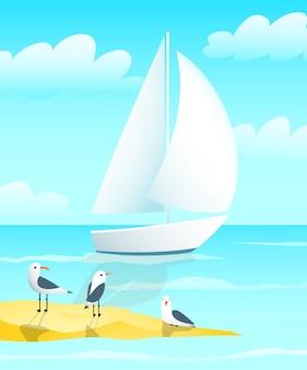 Conception de bateau de yacht à voile avec des mouettes et dessin animé de bord de mer.