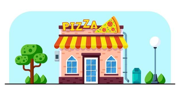 Conception de bâtiment de restaurant de pizza dans l'illustration de style plat