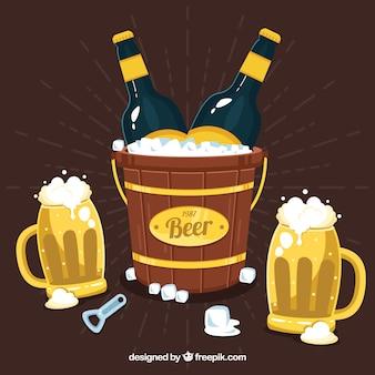 Conception de bière avec des bocaux et un seau