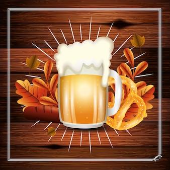 Conception de bière oktoberfest, allemagne festival célébration europe landmark culture de munich et thème du parti vector illustration