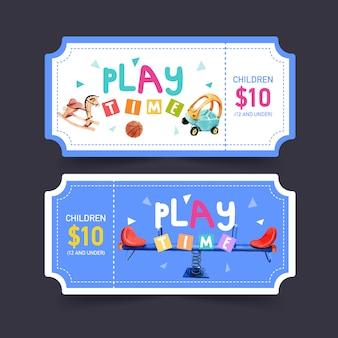 Conception de billets de jeux avec balançoire, cheval à bascule, illustration aquarelle de basket-ball.
