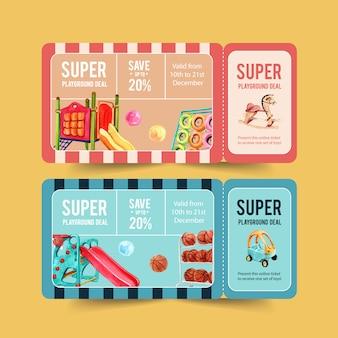 Conception de billets de jeux avec gym jungle, toboggan, ballon, illustration aquarelle de basket-ball.