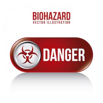 Conception biohazard sur illustration vectorielle fond blanc