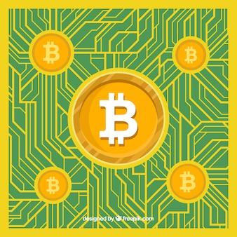 Conception de bitcoin vert et jaune