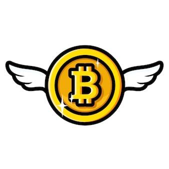 Conception de bitcoin volant vers le haut