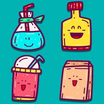 Conception de boisson doodle dessin animé dessiné à la main