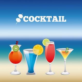 Conception de boissons au cours de l'illustration vectorielle fond flou