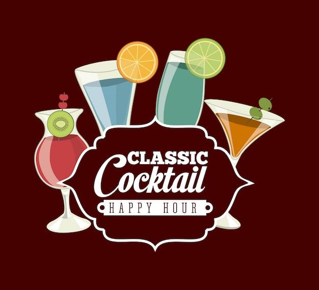 Conception de boissons au cours de l'illustration vectorielle fond rouge
