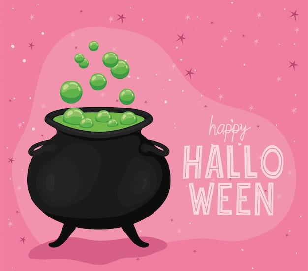 Conception de bol de sorcière halloween, thème de vacances et effrayant