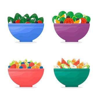 Conception de bols à fruits et salades