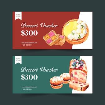 Conception de bon de dessert avec illustration aquarelle pain, biscuit et crème.