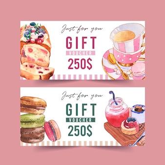 Conception de bon dessert avec illustration aquarelle de pain et macarons.