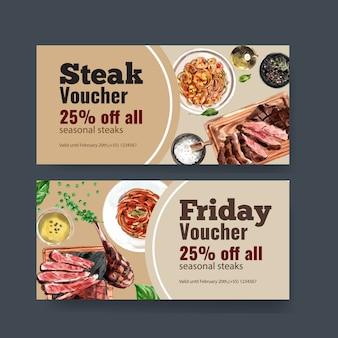 Conception de bon de steak avec des spaghettis, illustration aquarelle de steak de boeuf.