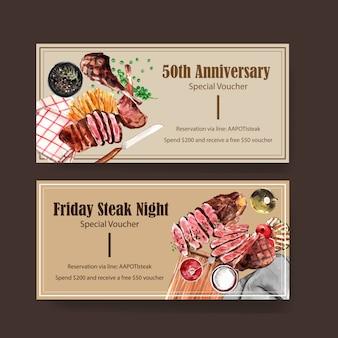 Conception de bon de steak avec de la viande grillée, illustration aquarelle de spaghetti.