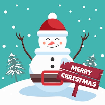 Conception de bonhomme de neige avec affiche de joyeux noël