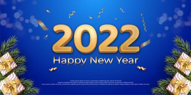 Conception de bonne année 2022 sur un fond de couleur bleue