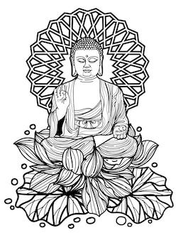 Conception de bouddha d'art de tatouage de la chine sur le dessin et le croquis de main de lotus