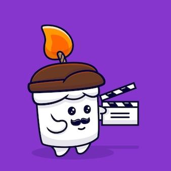 Conception de bougie mignonne sont une illustration de mascotte de réalisateur de films