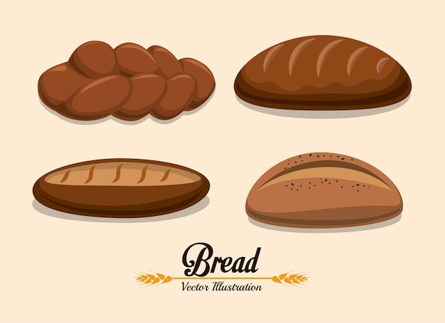 Conception de la boulangerie au cours de l'illustration vectorielle sur fond beige