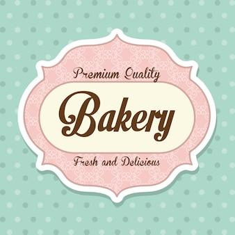 Conception de boulangerie au cours de l'illustration vectorielle fond bleu