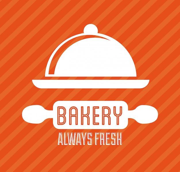 Conception de boulangerie au cours de l'illustration vectorielle fond lineal