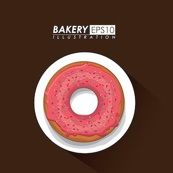 Conception de la boulangerie au cours de l'illustration vectorielle fond marron