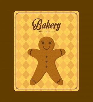Conception de boulangerie sur illustration vectorielle fond marron