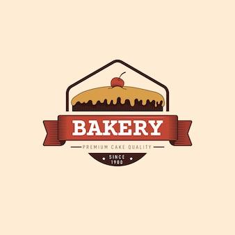 Conception de boulangerie pour logo avec gâteau