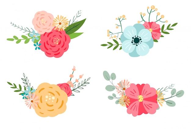 Conception de bouquet romantique floral, clipart botanique.