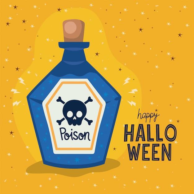 Conception de bouteille de poison d'halloween, thème de vacances et effrayant